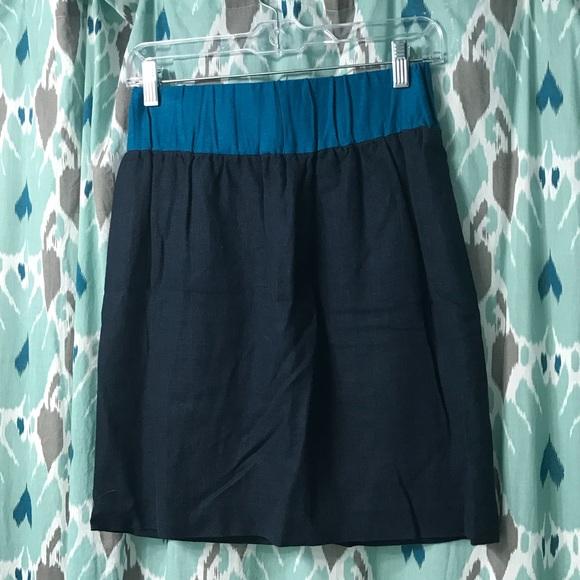 Loeffler Randall Dresses & Skirts - Loeffler Randall Navy/Aqua Trig Linen Skirt